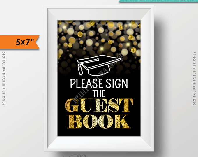 """Graduation Sign Please Sign the Guestbook Sign the Guest Book, Graduation Party Sign Graduate, 5x7"""" Instant Download Digital Printable File"""
