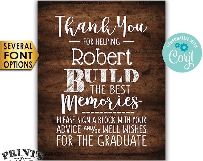 """Sign a Block Graduation Party Decoration, Thanks for Building Memories, PRINTABLE 8x10"""" Rustic Wood Style Sign <Edit Yourself with Corjl>"""