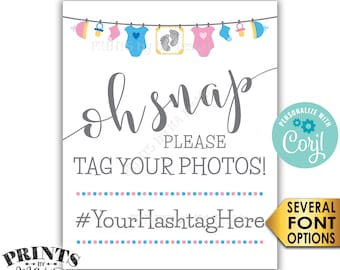 "Baby Shower Hashtag Sign, Oh Snap Please Tag Your Photos, Gender Neutral Clothesline, PRINTABLE 8x10/16x20"" Sign <Edit Yourself with Corjl>"