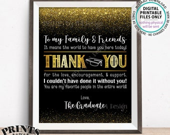 "Graduation Thank You Sign, Thanks from the Graduate, Graduation Party Decoration Thank You Card, PRINTABLE 8x10"" Black & Gold Grad Sign <ID>"