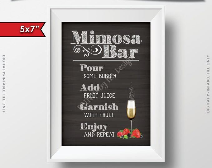 """Mimosa Bar Sign, Make your own Mimosa Sign, Bridal Shower Brunch, Bubbly, Wedding, Chalkboard Style 5x7"""" Instant Download Digital Printable"""