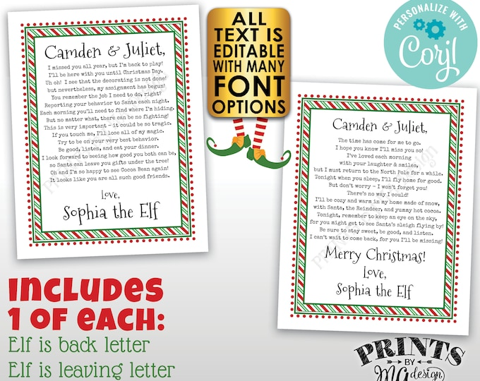 Christmas Elf Bundle Pack, Welcome Back & Goodbye Letters, Elf Leaving, Two Custom Editable PRINTABLE Digital Files <Edit Yourself w/Corjl>
