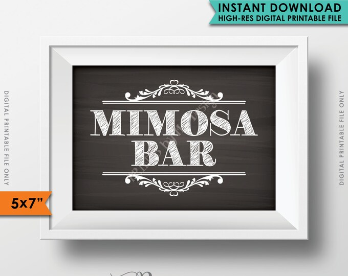 """Mimosa Bar Sign, Make your own Mimosa Station, Bridal Shower Brunch, Bubbly, Wedding Bar, PRINTABLE Chalkboard Style 5x7"""" Mimosa Sign <ID>"""
