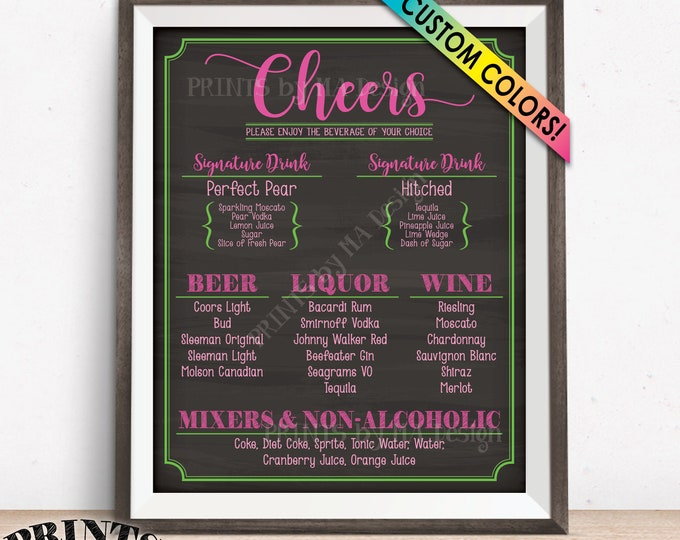 "Cheers Bar Menu Sign, Alcohol Drink Selection, Birthday Wedding Anniversary Retirement, Custom PRINTABLE 8x10/16x20"" Chalkboard Style Sign"