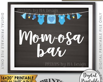 "Mimosa Bar Sign, Mom-osa Bar Sign, MOMosa Sign, Make a Mimosa Drink, Mom-osa Sign, Instant Download 8x10/16x20"" Chalkboard Style Printable"