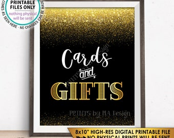 """Cards and Gifts Sign, Cards & Gifts, Birthday, Anniversary, Retirement, Graduation, Black and Gold Glitter PRINTABLE 8x10"""" Instant Download"""