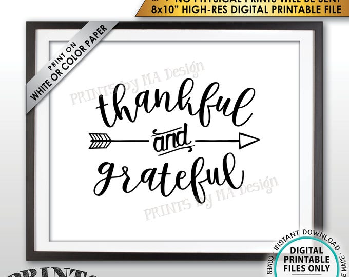 "Thankful and Grateful Sign, Thanksgiving Wall Decor, Blessing Sign, Autumn Decor, PRINTABLE 8x10"" Instant Download Fall Decor Sign"