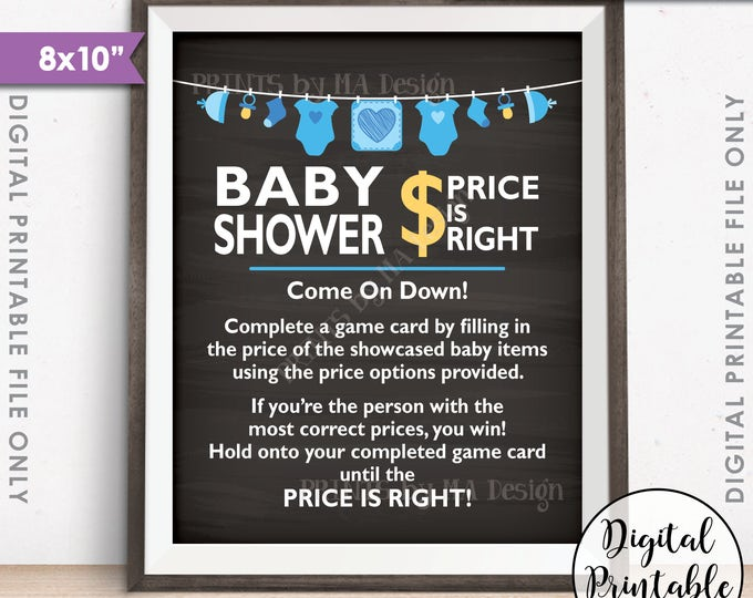 """Price is Right Baby Shower Game Sign, Guess the Prices Activity, Price Game, Shower Decor, 8x10"""" Chalkboard Style Printable Instant Download"""