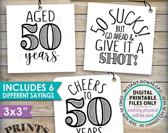"""50th Birthday Party Signs, Alcohol Themed 50th B-day, Aged to Perfection Take a Shot, PRINTABLE Square 3x3"""" tags on 8.5x11"""" Instant Download"""