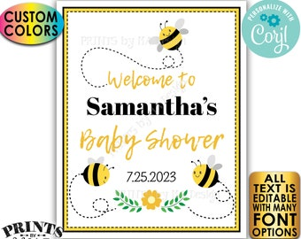 """Bee Themed Baby Shower Welcome Sign, Bee Baby Shower Decor, Custom PRINTABLE 8x10/16x20"""" Bee Sign <Edit Yourself with Corjl>"""