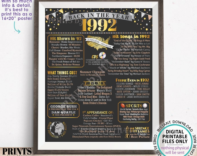 """Back in the Year 1992 Poster Board, Remember 1992 Sign, Flashback to 1992 USA History from 1992, PRINTABLE 16x20"""" Sign <ID>"""