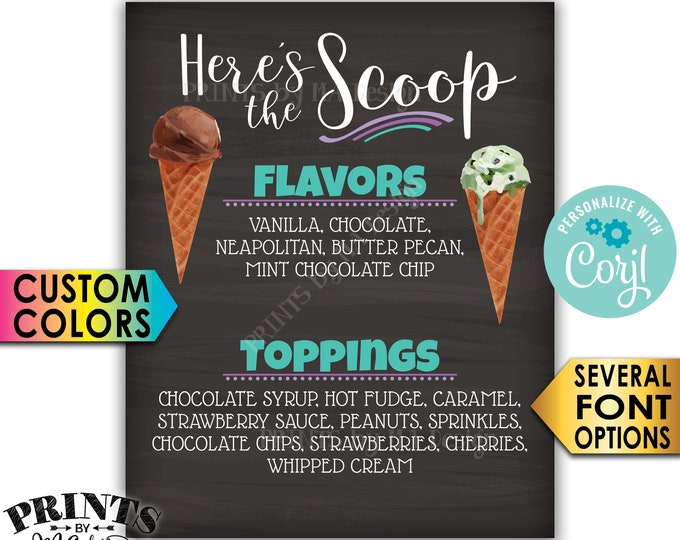 """Ice Cream Flavors & Toppings Sign, Here's the Scoop Ice Cream Bar, PRINTABLE 8x10/16x20"""" Chalkboard Style Sign <Edit Yourself with Corjl>"""