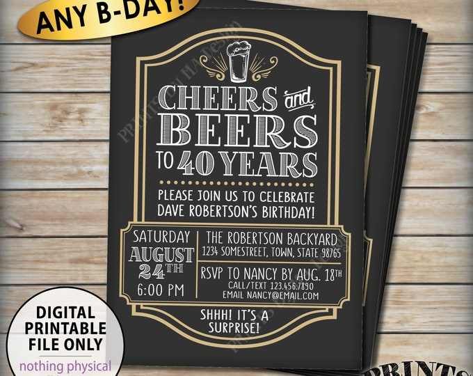 "Cheers and Beers Surprise Birthday Inviation, Cheers & Beers to Years, Cheers to Any Bday, Beer B-day Invite, PRINTABLE 5x7"" Invitation"