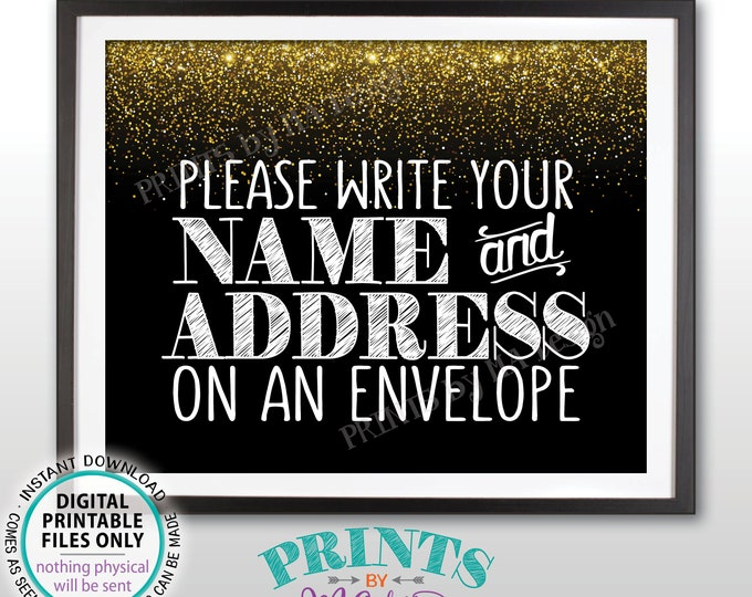"""Address an Envelope Sign, Bridal Shower, Gaduation Party, Birthday, Retirement, Black and Gold Glitter PRINTABLE 8x10"""" Addressee Sign <ID>"""