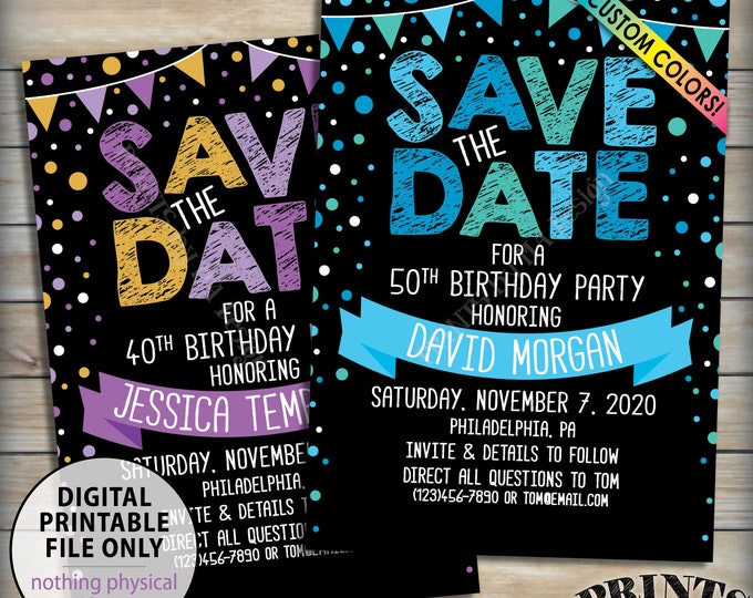 """Birthday Party Save the Date for a Birthday Party, Confetti Celebration, Bunting Flags, Custom Colors 5x7"""" Digital PRINTABLE File"""