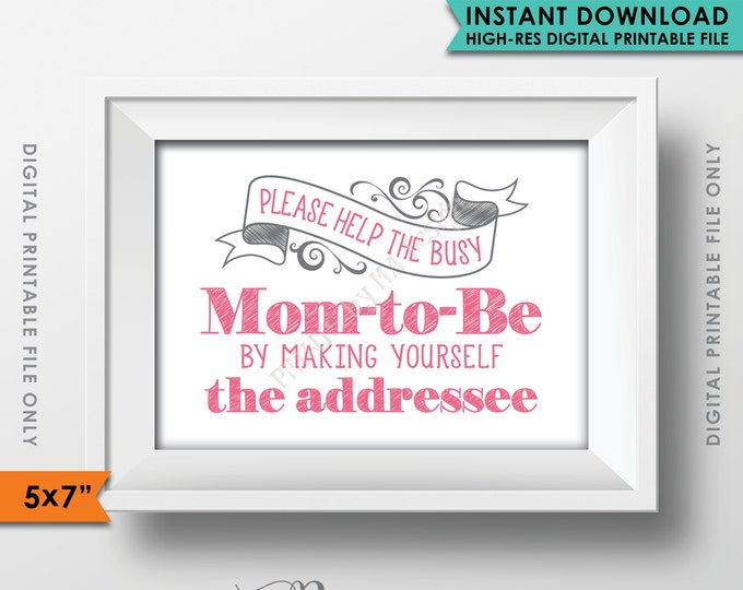 "Baby Shower Address Envelope Sign, Help the Mom-to-Be Address an envelope, It's a Girl, Thank You, Pink 5x7"" Instant Download Printable"