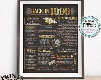 """Back in 1999 Flashback Poster Board, USA History Remember 1999 Birthday, Anniversary, Reunion, PRINTABLE 16x20"""" Sign <ID>"""