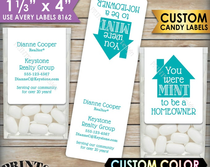 "Realtor Tic Tac Labels, Custom Color Real Estate Mint Stickers, Mint to be a Homeowner,  1-1/3x4"" PRINTABLE Avery #8162 Labels"