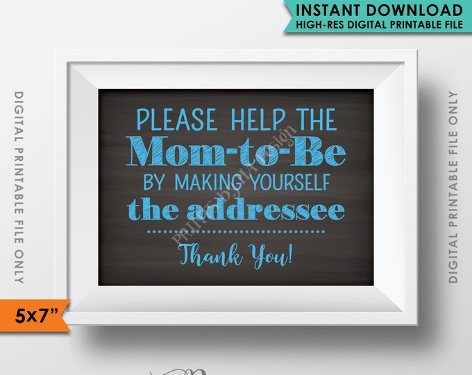 "Baby Shower Address Envelope Sign, Help the Mom-to-Be Address an envelope, It's a Boy, Blue 5x7"" Chalkboard Style Instant Download Printable"