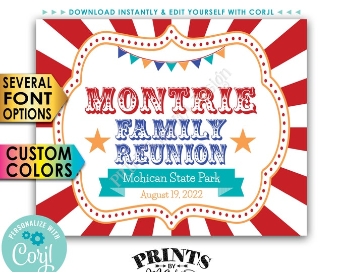 """Family Reunion Sign, Carnival Themed Family Reunion Banner, Circus Sign, PRINTABLE 8x10/16x20"""" Reunion Sign <Edit Yourself with Corjl>"""