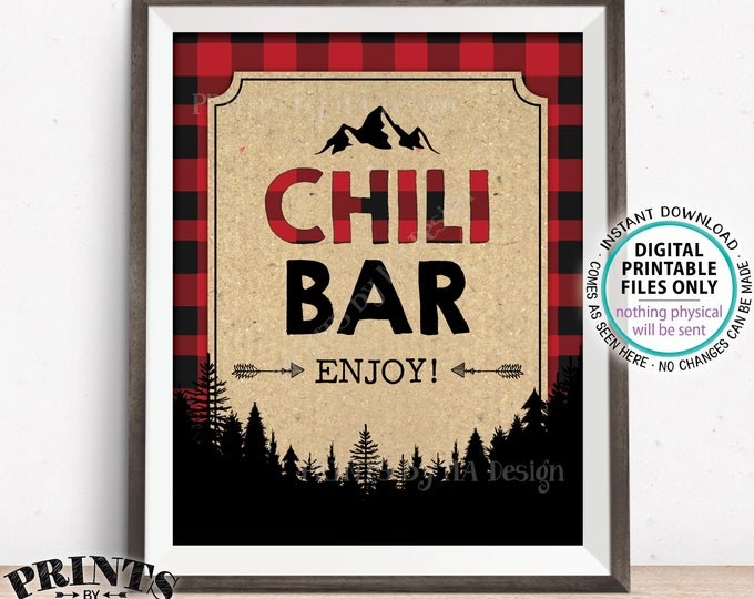 "Lumberjack Chili Bar Sign, Chili Station, Red & Black Checker PRINTABLE 8x10"" Chili Sign, Buffalo Plaid Decoration, Christmas Trees <ID>"