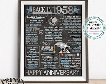 """1958 Anniversary Poster, Back in 1958 Anniversary Gift, Flashback to 1958 Party Decoration, PRINTABLE 16x20"""" Sign <ID>"""