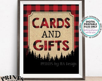 "Lumberjack Cards and Gifts Sign, Gifts & Cards Sign, Red Checker Buffalo Plaid Christmas Decor, PRINTABLE 8x10"" Lumberjack Style Sign <ID>"