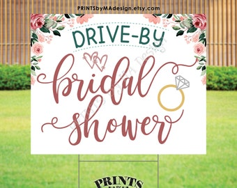 """Drive-By Bridal Shower Sign, Wedding Shower Parade, Rose Gold Blush Pink Floral PRINTABLE 16x20"""" Yard Sign <ID>"""