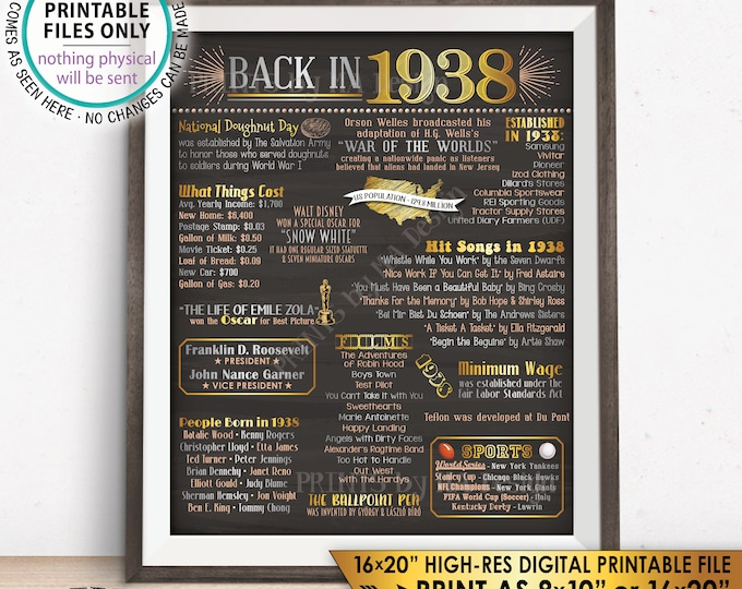 """1938 Flashback Poster, Flashback to 1938 USA History Back in 1938, Birthday Anniversary Reunion, Chalkboard Style PRINTABLE 16x20"""" Sign <ID>"""