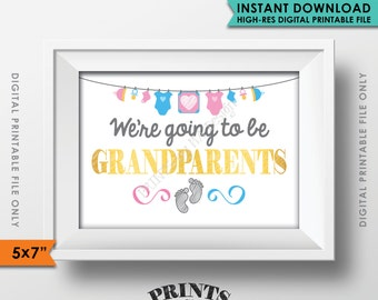 """New Grandparents Announcement, We're Going to be Grandparents, Pregnant, Expecting Baby, Nana & Papa, Instant Download 5x7"""" Printable Sign"""