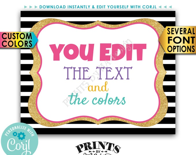 "Custom Sign, Design a Poster, Choose Your Text/Colors, Black & Gold Glitter PRINTABLE 8x10/16x20"" Landscape Sign <Edit Yourself with Corjl>"