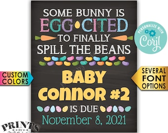 Easter Pregnancy Announcement Sign, Some Bunny is Egg-Cited to Spill the Beans, PRINTABLE Baby Reveal Sign <Edit Yourself with Corjl>