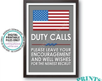 """Military Party Decor, Leave your Encouragement and Well Wishes, Boot Camp, Armed Forces, Army, Navy, Air Foce, PRINTABLE 24x36"""" Sign <ID>"""