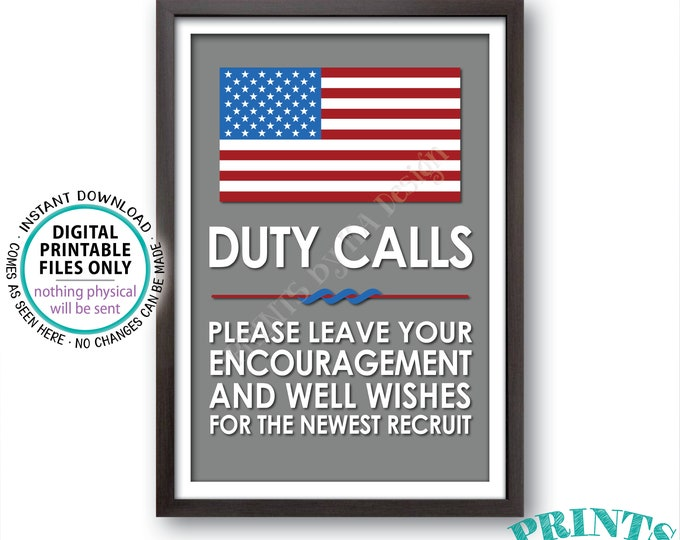 "Military Party Decor, Leave your Encouragement and Well Wishes, Boot Camp, Armed Forces, Army, Navy, Air Foce, PRINTABLE 24x36"" Sign <ID>"