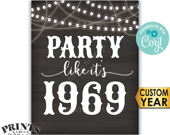 """Party Like It's Birthday Party Sign, ANY Year, Reunion Decoration, PRINTABLE 8x10/16x20"""" Chalkboard Style Sign <Edit Yourself with Corjl>"""