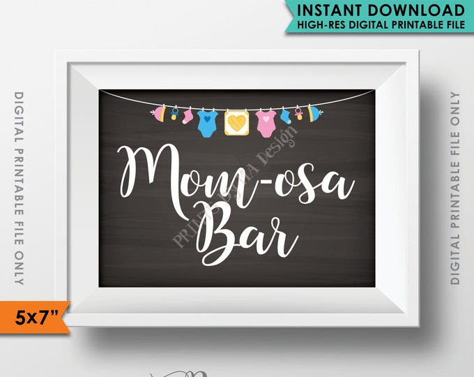 "Mimosa Bar Sign, MOMosa Sign, Make a Mimosa, Mom-osa Shower Decor, Mom-osa Drink, Neutral Baby Shower, 5x7"" Instant Download Printable Sign"