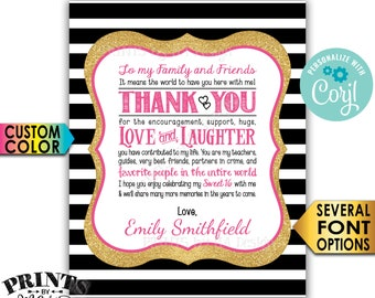 """Sweet 16 Birthday Thank You Sign, Sweet Sixteen Party Decoration, Black & Gold Glitter PRINTABLE 8x10/16x20"""" Sign <Edit Yourself with Corjl>"""
