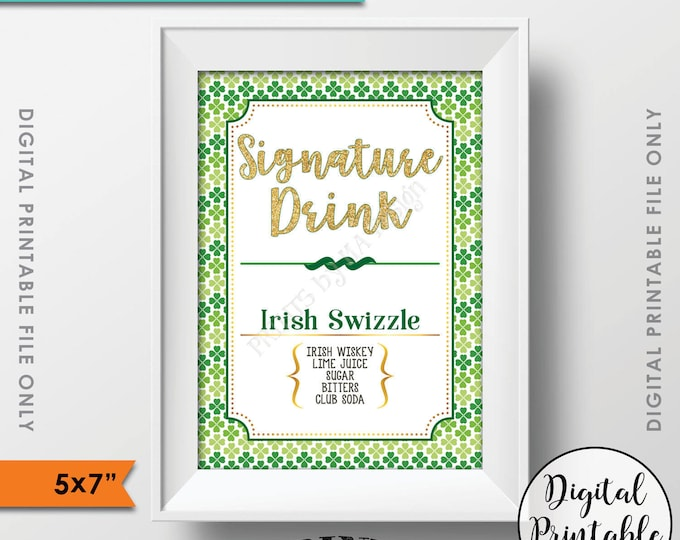 """Signature Drink Sign, St. Patrick's Day Signature Cocktail Sign, St. Patrick's Day Party Sign, Shamrock Menu, PRINTABLE 5x7"""" Drink Sign"""
