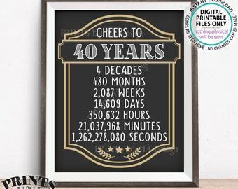 """Cheers to 40 Years, 40th Birthday Sign, Cheers & Beers, 40th Anniversary, Beer Party Sign, Retirement Party, PRINTABLE 8x10/16x20"""" Sign <ID>"""