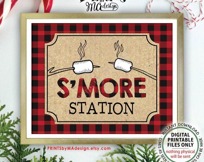 "S'more Station Sign, Lumberjack Smore Station, S'mores Bar, Campfire, Red Checker Buffalo Plaid, Christmas, PRINTABLE 11x14"" Smore Sign <ID>"