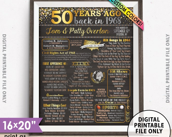 """50th Anniversary Gift, Married in 1968 Anniversary Poster, Flashback to 1968 Flashback 50 Years, Chalkboard Style PRINTABLE 8x10/16x20"""" Sign"""