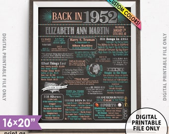 """Flashback to 1952 Poster, Back in 1952 Flashback Sign, Born in 1952 Birthday Party Decor, Chalkboard Style PRINTABLE 8x10/16x20"""" 1952 Poster"""