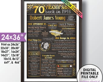 """70th Birthday Gift, 1948 Birthday Poster, Back in 1948 Flashback 70 Years Ago, 1948 Bday, Chalkboard Style PRINTABLE 24x36"""" 1948 Poster"""