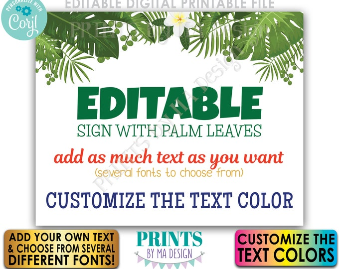 """Custom Sign with Tropical Palm Leaves, Choose Your Text, PRINTABLE 8x10/16x20"""" Landscape Sign, Caribbean Greenery <Edit Yourself with Corjl>"""