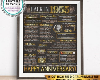 """1955 Anniversary Poster, Back in 1955 Anniversary Gift, Flashback to 1955 Party Decoration, PRINTABLE 16x20"""" Sign <ID>"""