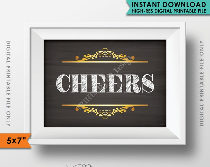 """CHEERS Sign, Cheers Bar Sign, Wedding Bar Sign, Cheers Party, Chalkboard Style, 5x7"""" Instant Download Digital Printable File"""