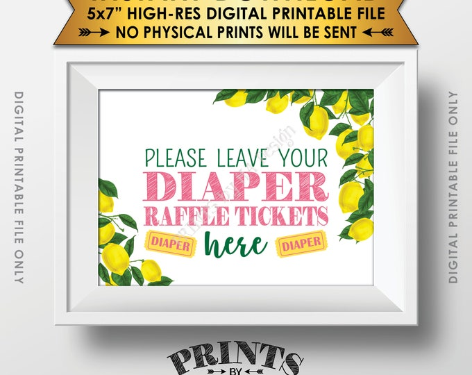 """Lemon Themed Baby Shower Sign, Leave Diaper Raffle Tickets Here, Tuscan Garden Tropical Summer Pink Lemonade 5x7"""" Printable Instant Download"""
