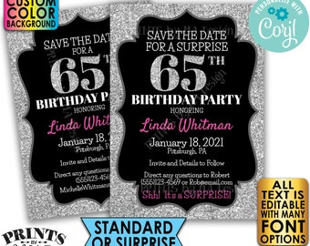 "Silver Glitter Birthday Party Save the Date, Surprise or Standard Invite, Custom PRINTABLE 5x7"" Digital File <Edit Yourself with Corjl>"