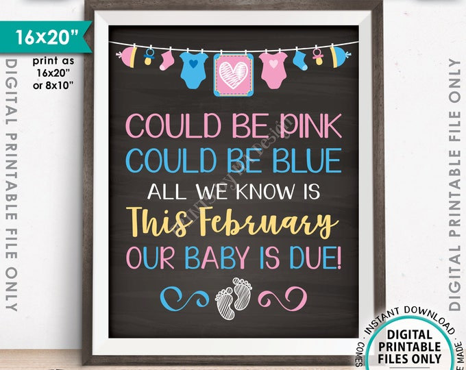 """Pregnancy Announcement, Could be Pink Could be Blue, Our Baby is Due in FEBRUARY Dated Chalkboard Style PRINTABLE 16x20"""" Reveal Sign <ID>"""