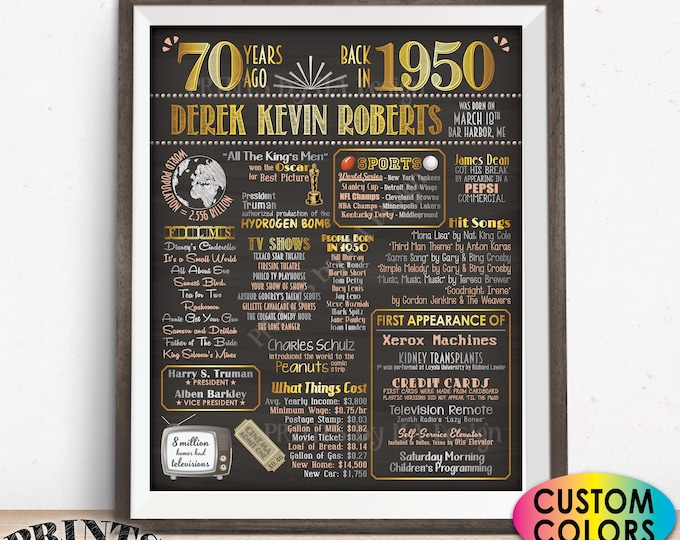 """Back in 1950 Sign, 70th Birthday Born in 1950 Poster Board, Flashback 70 Years Ago B-day Gift, Custom PRINTABLE 16x20"""" Sign"""